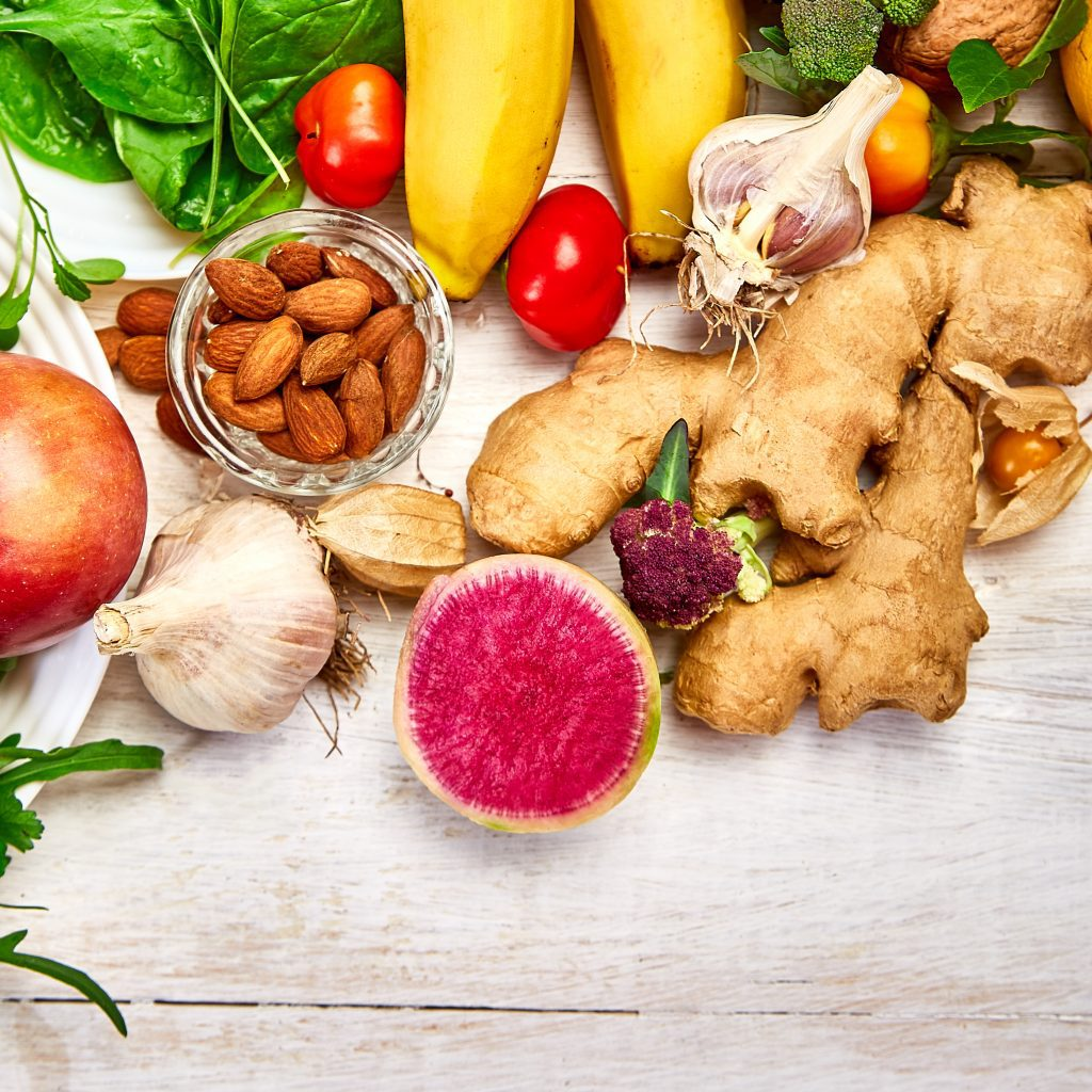 Selection of food rich in antioxidants and vitamins and mineral